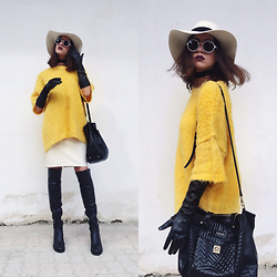 Fransi - H&M Sweater, Asos Sunglasses, Parfois Hat, Liu Jo Bag, Koton Gloves - Birdie inspired look