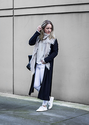 Jenaly Enns - Zara Long Cardigan, Aritzia Triangle Scarf, American Apparel Fishermans Sweater, Only White Jeans, Urban Outfitters Low Sneakers - White and Cream