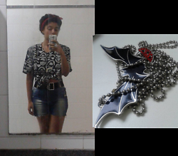 Barbara Maria - Red Ribbon, Second Hand Shirt, Second Hand Belt, Second Hand Custom Shorts, Watermelon Earrings, Bat Shaped Pendandt - Fruit Bat