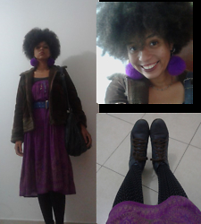Barbara Maria - Second Hand Coat, Black Shirt, Purple Indian Skirt Used Like A Dress, Vintage Belt, Second Hand Bag, Purple Pompom Earrings, Second Hand Necklace, Lia Line Blue Boots, Polka Dot Pantyhose - Queen of 70's
