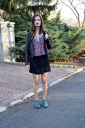 Austen Tosone - Gypsy Warrior Floral Top, Free People Leather Jacket, H&M Asymmetrical Skirt, Nasty Gal Booties - Spring fever