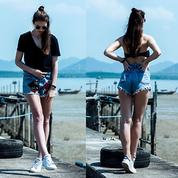 Jacky - Zara T Shirt, Levi's® Shorts, Triangl Bikini, Adidas Sneakers - Levi's Shorts – Patch it up!