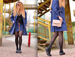 Martina Manolcheva - Choies Denim Coat, Bershka Skirt, Bag, Shoes - Casual In Denim On Denim