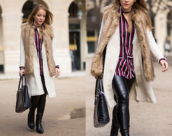 Silver Girl - Zara Long Coat, Zara Faux Fur Vest, Helmut Lang Leather Leggings, Massimo Dutti Ankle Boots, Armani Jeans Black Handbag, Asos Striped Shirt - PFW LOOK #6