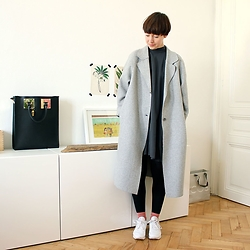 Cosima Hagmann - Cos Coat - Grey Dress and Reebok Classics