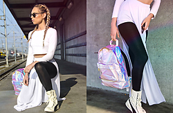 Celine Geraldine - Mi Holographic Backpack, Puma Eskiva, Nia Hall By Metroboutique White Skirt, H&M White Top, Ray Ban Club Master Glasses - FLYER THAN A MOTHERF***** UNICORN