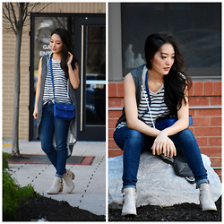 Kimberly Kong - Black Petunia Distressed Sleeveless Vest, Cat Footwear Studded Boots, Levi's Skinny Jeans, Chaser Striped Tank, Armadio Crossbody Bag - The Distressed Vest