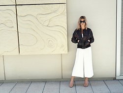 The Pearl Oyster - Asos Culottes Jumpsuit, Urban Outfitters Bomber, Steve Madden Sandals - Silence / noise