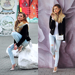 Adriana M. - Reserved Skinny Denim Pants, New Yorker White Bag, Mango Leather Dark Brown Jacket - Perfect skinnies for spring look.