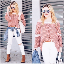 Zia Domic - Westkei Off Shoulder Top, Free People White Skinny Jeans - White Denim.