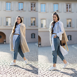 Romina Ch - Zara Cut Out Shirt, Adidas Kicks, H&M Boyfriend Jeans, Max Mara Coat, Zerouv Eyewear - Spring Blues