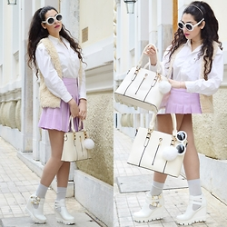 Marina Mavromati - Oliver Goldsmith Sunglasses, New Chic Bag, Cndirect Bag Charm, Dressin Skirt - Glam & Faux!