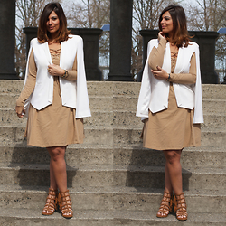 Jaclynn Brennan - Project Gravitas Cape Blazer, Asos Nude Lace Up Dress, Mari A Elsa Gladiator Sandals - Everyday Superwoman
