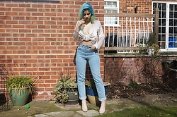 Sophie Hannah Richardson - Never Fully Dressed Satin Top, The Ragged Priest Denim Jeans, Public Desire Nude Boots - SATIN TOP