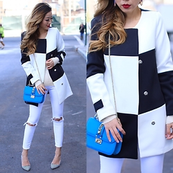 Sasa Zoe - On Sale For Only $31 Coat, Jeans, Bag, Heels, Earrings - BLACK AND WHITE FOR SPRING