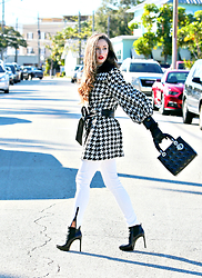 Kyleigh Mccollam - Dolce & Gabbana Houndstooth Coat, Shop Similar Jeans, Shop Similar Booties, Mac Lipstick - A Pop of Colour