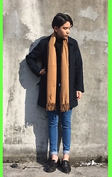 Kai Chi Lao - Gap Coat。, Saint Laurent Scarf。, 2143 Jeans。, Timberland Shoes。 - ▲ #green #sunshine #2143 #ysl #mbmj #topshop。▲
