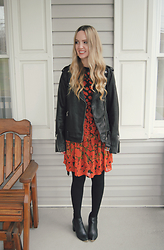 Stacey Belko - Lucky Brand Leather Jacket, Asos Dress, Urban Outfitters Booties - Red poppies.