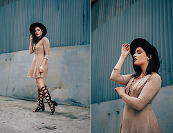 Michelle Dion - Forever 21 Suede Dress, Forever 21 Lace Up Shoes, Forever 21 Wide Brim Hat - Suede Story