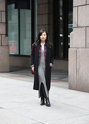 Mary G - Long Cardigan, Tartan Jacket, Asos Sweater Dress, Zara Ankle Boots - Evolving Style