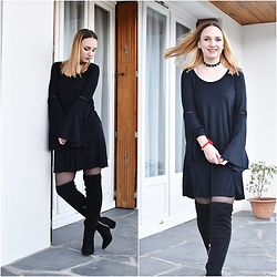 Lou-Ann A - Pull And Bear Dress, Zara Choker, Stradivarius Hight Kneet - ALL BLACK