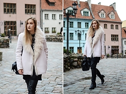 Laura Alksne - Zara Coat, Reserved Bag, Asos Boots, Lindex Faux Leather Trousers, H&M Dress - BE YOU