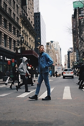 Richy Koll - Dr. Martens Oxfords, Hugo Boss Socks, Cheap Monday Jeans, Ralph Lauren Turtleneck Sweater, Oversize Jeans Jacket - Just New York.