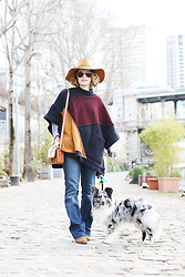 Lila G - Zara Color Block Poncho, Etam Blue Bootcut Jeans, Zara Large Hat, & Other Stories Sheepskin Bag, La Redoute Aviator Sunnies, Zara Wedged Boots - Poncho.