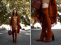 Willabelle Ong - Jeffrey Campbell Shoes Perouze Boots In Rust Suede, Patent Leather Camel Skirt - Rust