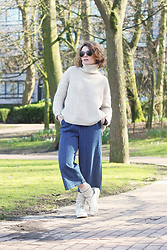 Lila G - Zara Cream Turtleneck Jumper, Choies Striped Culotte, H&M Cream Wool Socks, Adidas Stan Smith Sneakers, La Redoute Aviator Sunnies - Leopold Park.