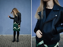 Laura Alksne - Zara Faux Leather Jacket, H&M Dress, Asos Boots - A WHILE AGO