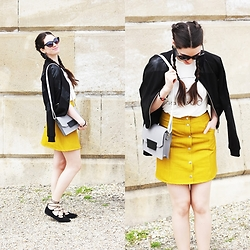 Mimi Papp - Popo Yellow Skirt, Timrose Gray Shoulder Purse, Monik Caturday T Shirt, Sugarbird Black Jacket, Timeabartos Earring - Koakotsalgi
