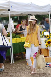Ashley Hutchinson - H&M Fedora, Anya Hindmarch Canvas Tote, Stuart Weitzman Cork Sandals, Coach Yellow Crossbody Bag - Yellows & Golds at the Summer Farmer's Market