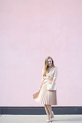 Ashley Hutchinson - Everlane Pink Blouse, Zara Pink Pleated Skirt, Kate Spade Pride & Prejudice Clutch, Dune London Pink Pumps - Think Pink