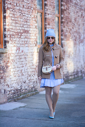 Ashley Hutchinson - Uniqlo Duffle Coat, Chloé Chloe Drew Crossbody Bag, Asos Pink Pom, Thakoon Addition Blue Shirt Dress, Dune London Blue Pumps - 2016 Pantone Color of the Year