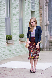 Ashley Hutchinson - Boden Breton Stripe Top, Zara Floral Skirt, Smythe Navy Blazer, Lk Bennett Burgundy Croc Pumps, Chloé Chloe Drew Bag, Valentino Red Lace Sunglasses - Stripes & Florals