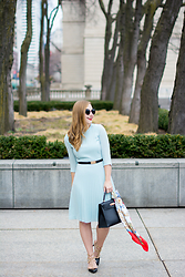 Ashley Hutchinson - Hugo Boss Blue Pleated Dress, Topshop Black Gold Belt, Hermès Kelly Bag, Hermès Vintage Scarf, Sole Society Pumps - Hermes Kelly Bag