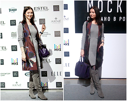 Arina V. - River Island Vest, Lost Ink Over The Knee Boots - At Moscow fashion week 2016