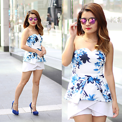 Sarah Mai - Something Borrowed Floral Peplum Tube Top, Chatuchak Market White Skort, Kiss N Tell Constance Heels, Pott Glasses Pink Gold Sunglasses - Spring Floral