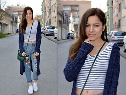 Marija M. - Bershka Striped Crop Top, Bershka Navy Long Cardigan, Mickey Mouse Jeans - Mickey and stripes