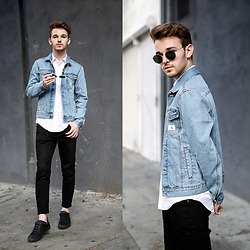 Drew Scott - Calvin Klein Denim Jacket, Asos White Button Down, Acne Studios Black Dropped Denim, Ray Ban Round Sunnies, Zara Black Sneakers - Baby Blue