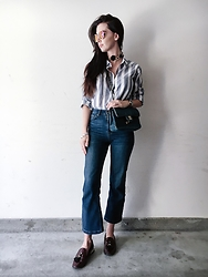ASH - Striped Button Up, Cropped Flared Jeans, Tassel Loafers, Denim Chanel Purse - Flared Denim & A Striped Blouse