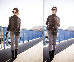Porcelanna - Asos Leather Jacket, Asos Turtleneck Sweater, H&M High Waisted Jeans, Buffalo Ankle Boots, Bag, Ochnik Gloves, New Look Glasses - Self - confidence is the best outfit! Rock it & own it!