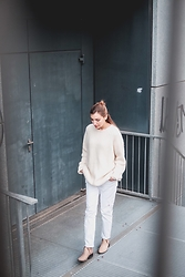 Verena - & Other Stories White Wool Jumper, Zara White Ripped Boyfriend Jeans, H By Hudson Ankle Boots - White Out