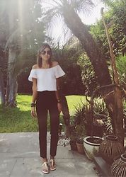 Giuliana ♡ - Calvin Klein Cigarette Pants, Amatista Maran White Top, Hipanema Bracelets, Coach White Flats, Michael Kors Black Sunnies - Minimalism