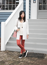 Mary G - Cos Open Front Cardigan, Madewell White Shirt, Mih Jeans Colored, & Other Stories Leather Flatforms, Kate Spade Leather Shoulder Bag - Drink Coffee Do Good