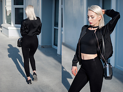 MONIKA S - Satin Bomber Jacket, Crop Top, Biker Bag, High Waist Pants, Nike Roshe One, Leather Choker Necklace - GHOST