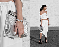 Kristina - Nois Silver Perforated Lunchbag Tote, Fawnxfern Silver Hammered Cuff, Happy Rebel Box Stack Midi Rings, Salient Label White Crop Top, Salient Label Asymmetrical Culottes, Public Desire Black Gladiators - Black in white