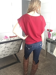 Cindy Batchelor - Zeagoo Loose Casual Batwing Red Chiffon Top - A cute red chiffon top, jeans, and knee high boots