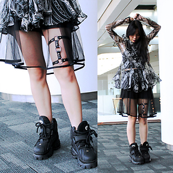 Valerie Samantha - Ktz Stand Collar Shirt With Flounce, Devilish Leg Garter, Buffalo Classic, Label Cut See Through Skirt, Forever 21 Tanktop - Like OOH-AHH